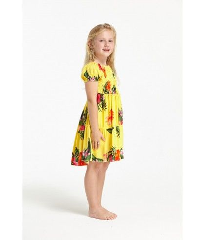 3bde5b0437dfc Girl Short Sleeve Top Dress with Floral Ruffle in Yellow