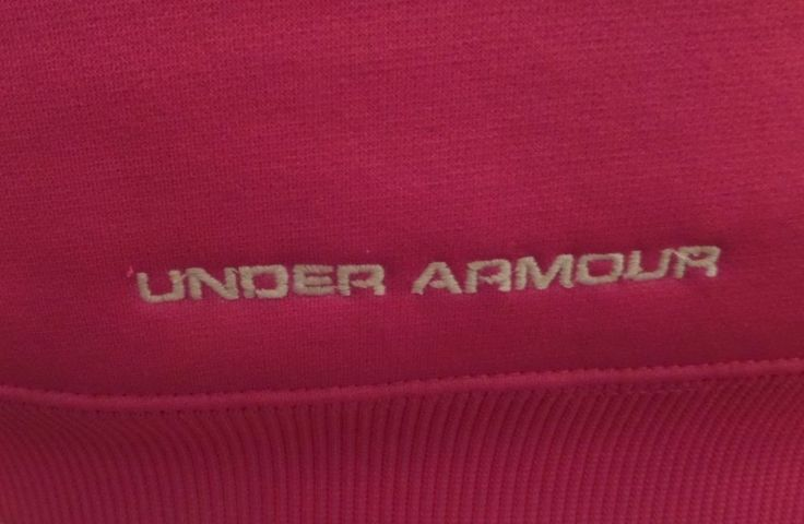 EUC Womens Under Armour Full Zip Hoodie UA W/ OUTER BANKS FITNESS Hot Pink Sz L  #UnderArmour #FullZipHoodie