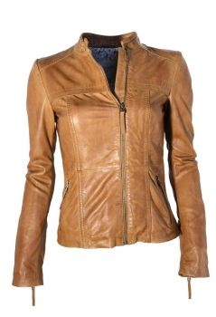 "Damen Lederjacke ""SARA"" in washed Cognac"