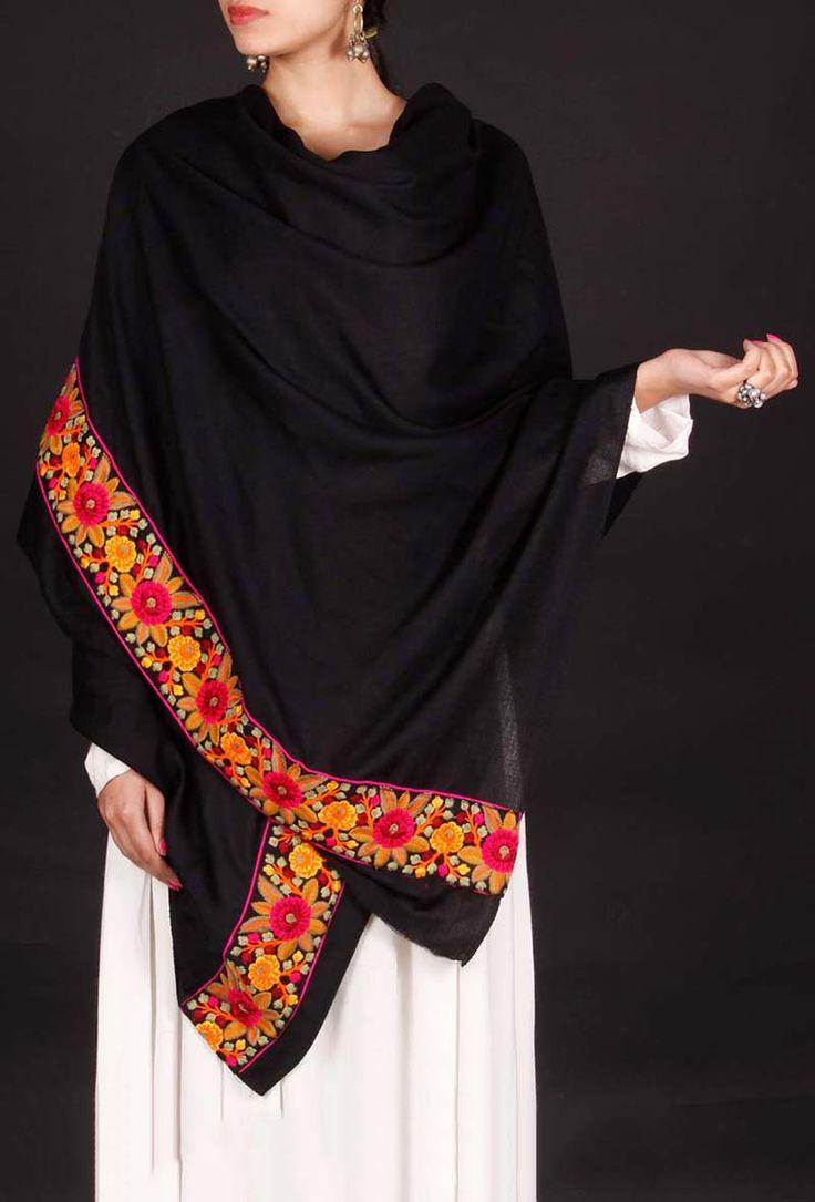 Black thread embroidered Kashmiri shawl from www.tjori.com