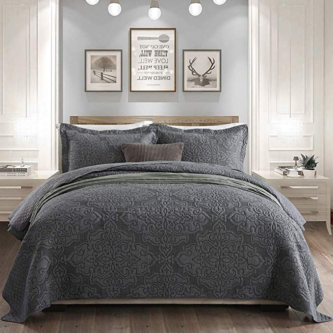 Amazon Com Gravan 3 Piece Queen Quilt Sets With Shams Oversized Bedding Bedspread Coverlet Set Elegant Grey Oversized King Quilts Bed Spreads Best Bed Sheets What is a coverlet quilt