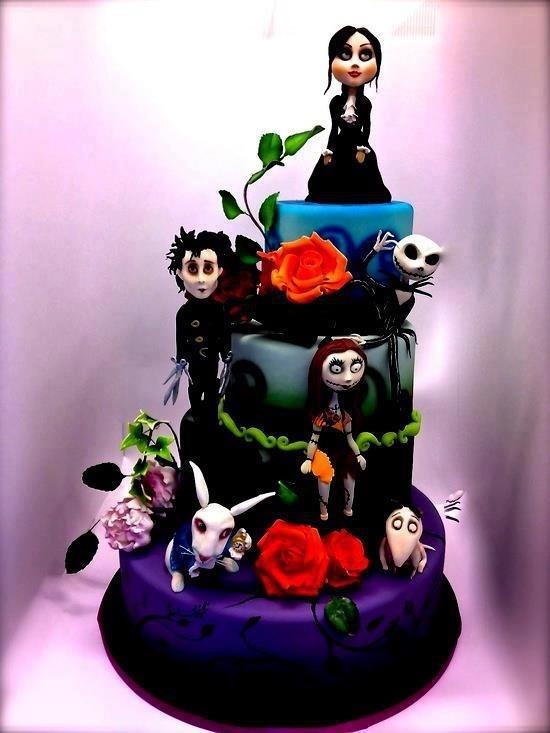 Tim Burton wedding/ birthday cake. Nightmare before Christmas. Jack Skellington, Edward Sissorhands, Alice in wonderland. Jeremey just chose our wedding cake!