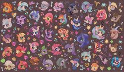 Size: 1600x926 | Tagged: apple bloom, applejack, artist:phyllismi, babs seed, big macintosh, bon bon, button mash, coco pommel, derpy hooves, diamond tiara, discord, dj pon-3, doctor whooves, double diamond, fluttershy, granny smith, king sombra, limestone pie, lyra heartstrings, marble pie, maud pie, moondancer, octavia melody, pinkie pie, princess cadance, princess celestia, princess flurry heart, princess luna, rainbow dash, rarity, safe, scootaloo, shining armor, silver spoon, spike…