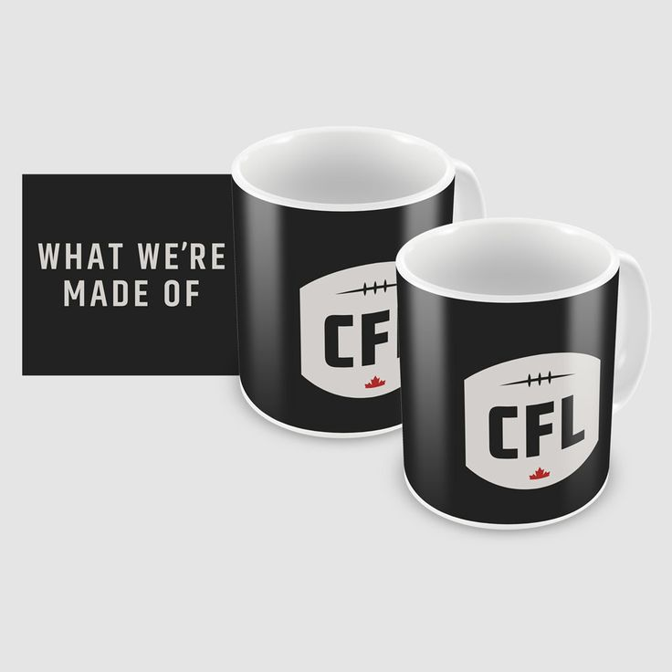 CFL 2 pack WWMO Mugs / Ensemble de tasses WWMO de la LCF. 11oz sublimated mug, featuring full wrap graphic design.  Be one of the first to represent the NEW logo and tagline of the Canadian Football League.  Because we know what happens when the energy of Canadian Football meets the passion of Canadian fans.