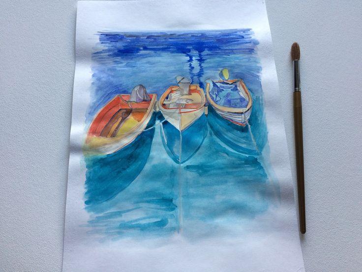 """""""Tres barcos"""" #watercolor, #painting, #drawing, #boats, #sea"""