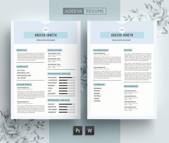 Simple Resume Template Janeth by AdeevaResume on @creativemarket
