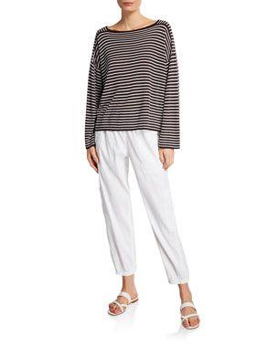 9fc058334efa Eileen Fisher Bateau-Neck Striped Long-Sleeve Sweater