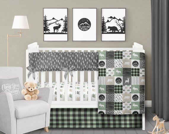 Rustic Crib Bedding Set Bear Moose Deer Plaid Mountain Baby Boy