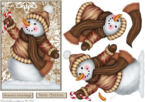 A step by step card front with snowman decoupage and a choice of sentiments
