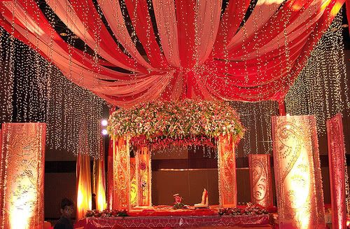 decoration for wedding marriage in India lights magenta gold fairy lights mehndi - Google Search