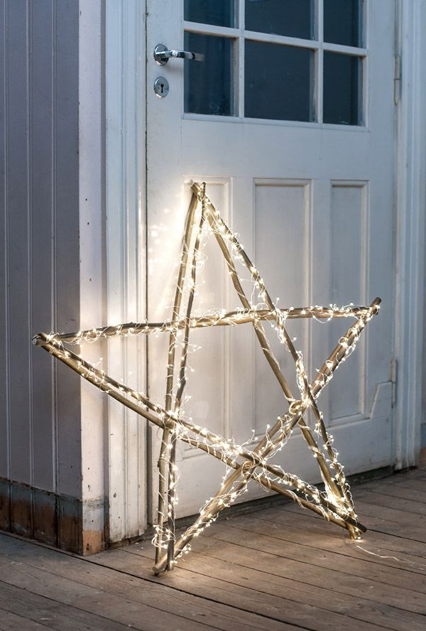 Gorgeous rustic star shape covered in #fairylights