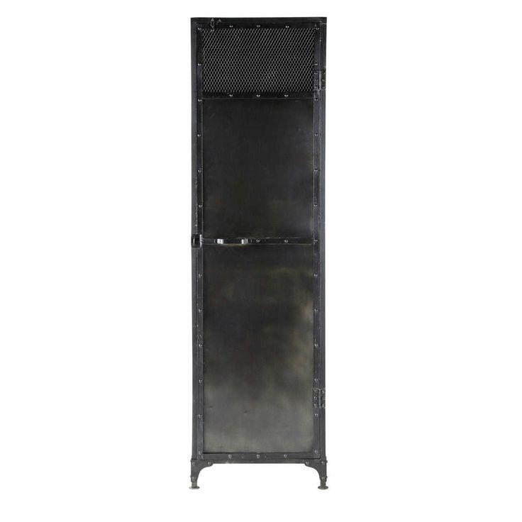 Kleiderschrank aus Metall, B 55cm, schwarz antik Edison