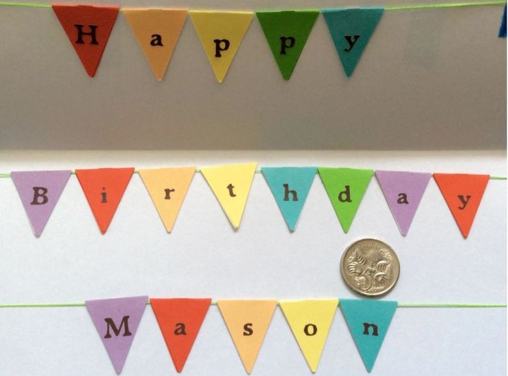 Mini personalised Cake Bunting -Card Stock Flags, Garland, for any occasion
