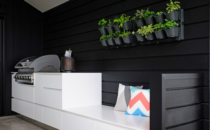 Wall planter and black weatherboard create a sophisticated backdrop for the covered BBQ area.