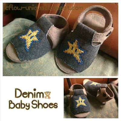 Try to make a shoes for my niece, and finally finished. This is a baby shoes made from jeans and felt with a cute star cross stitch. Hope he likes.