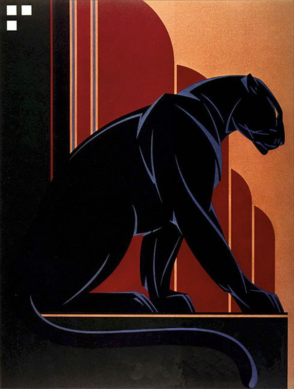 39 black panther 39 by nick gaetano illustration posters for Art deco artists and designers
