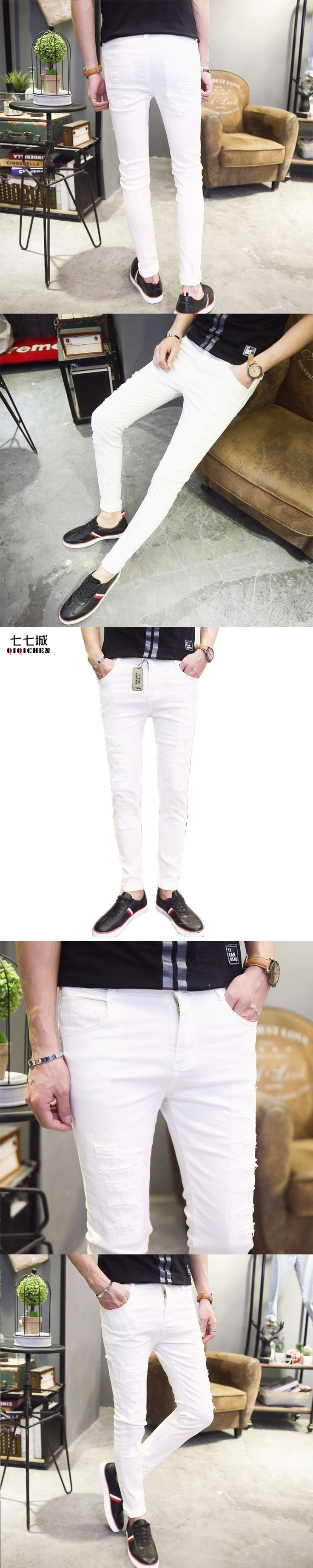 2017 New Fashion Holes White Ripped Jeans for Men Casual Pants Slim Fit Cotton Stretch Pencil Skinny Pants Men Long Trousers