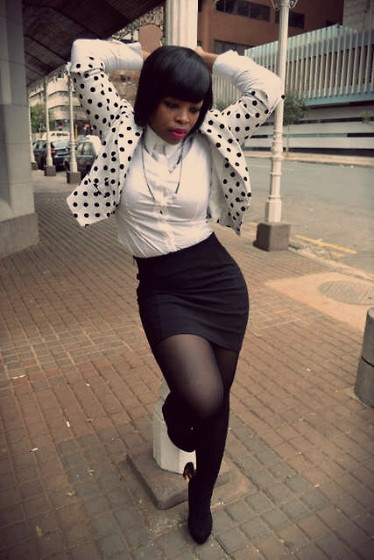 Studio. W White Shirt, Polka Crop Jacket, Milla  Bodycon Skirt