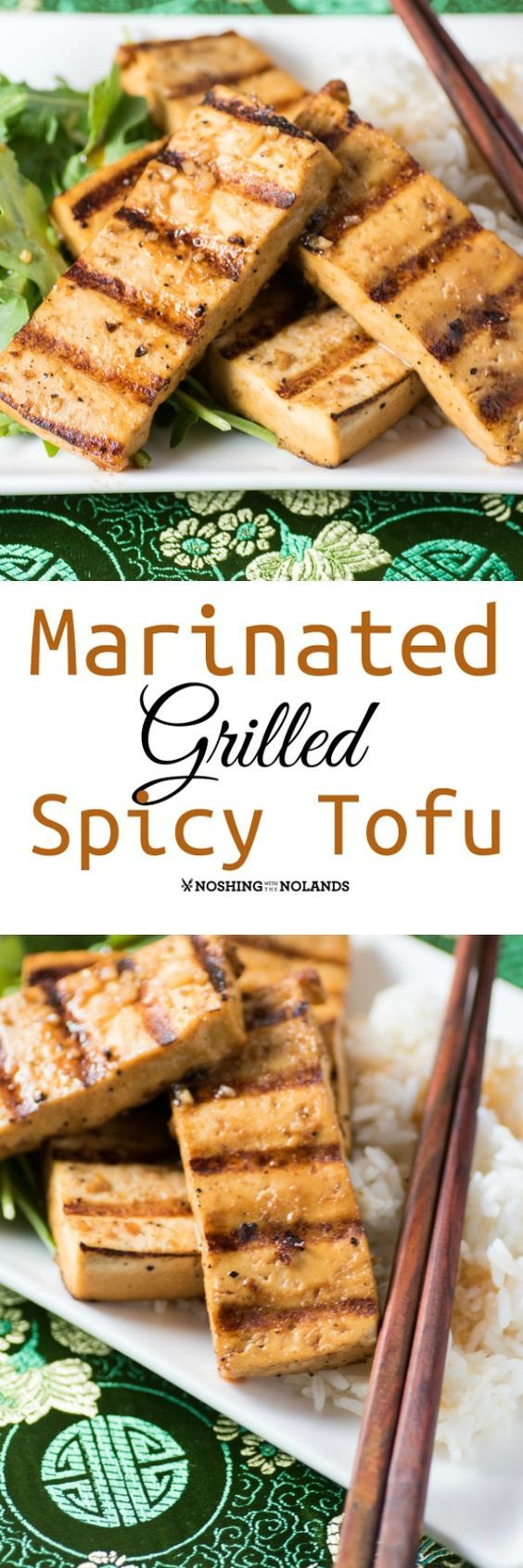 Marinated Grilled Spicy Tofu by Noshing With The Nolands is a delicious appetizer or main dish done on the BBQ with an Asian twist! #ad