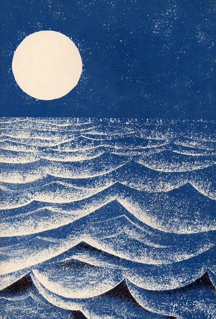 Leonard Weisgard - Look at the moon, 1969. Illustration Approach: I develop a feeling of serenity when I gaze upon this artwork. You develop patience and peacefulness of the mind gazing upon the simplicity of the monochromatic blues, and the strikingly bright moon. There's a calming presence to the reflection of the moon's light within the surface of the waves.