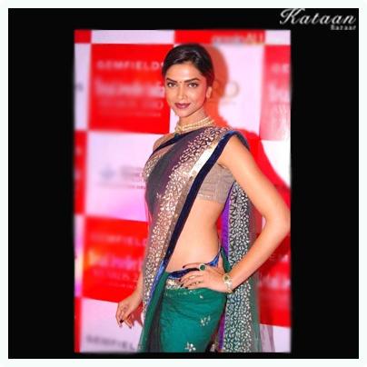 #Deepika Padukone in a glamarous GREEN saree