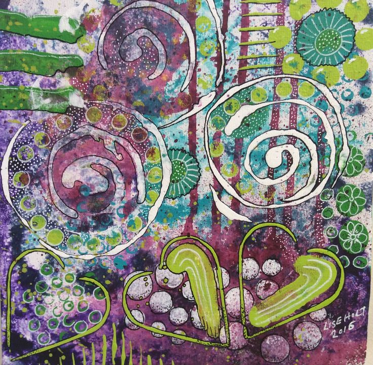 """""""Underwater Garden"""" by Lise Holt - acrylic and markers on canvas"""