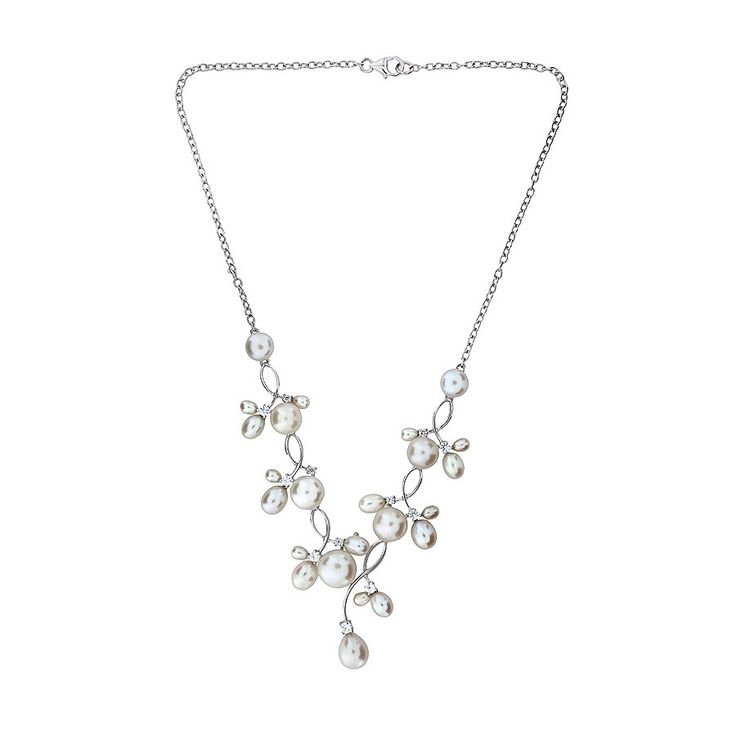 Silver Freshwater Pearl Waves Necklace #Silver #Pearl #Bride #BridalJewellery #PearlNecklace #WeddingJewellery #Necklace