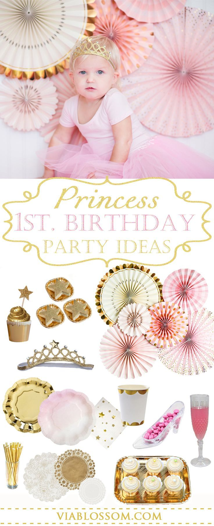 1st Birthday Princess Party Ideas for your littler girl!  If you are planning a first birthday for your princess, look no further because we have all the Princess Party Decorations you can dream of in one place!  Lots of Pink and Gold Party Supplies!  All available at  https://viablossom.com/