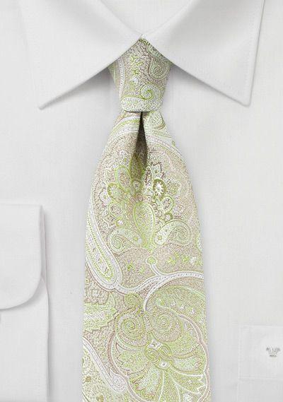 Kravatte Paisley hellgrün weiß