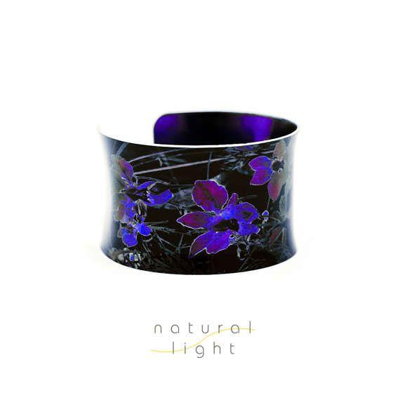 Cuff Bracelet - Abstract Jewelry - Midnight Garden Black And Deep Purple - Handmade Jewelry - Black Cuff Bracelet - 10th Anniversary Gift