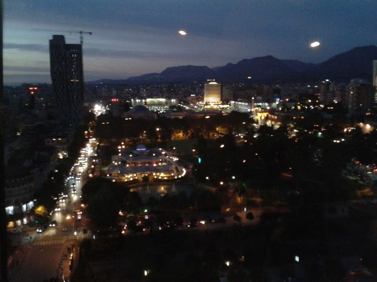 #Tirana by night dalla Sky Tower