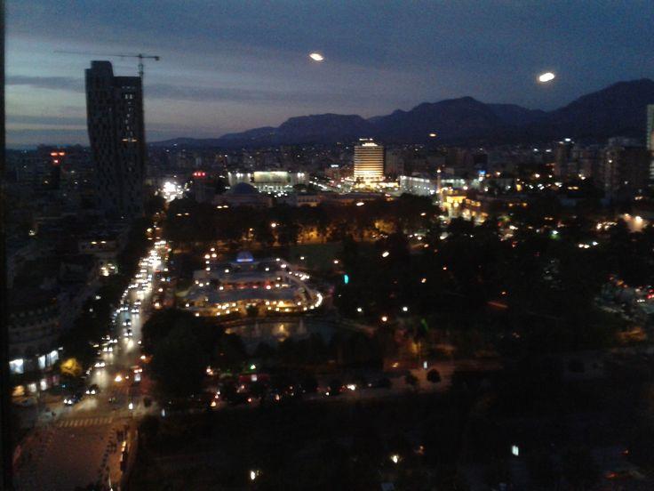 #Tirana by night dalla Sky Tower