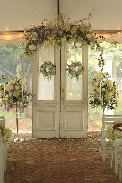 "I like the idea of the Door Arch (colors & style) EXCEPT..make a SIMPLER version (easy to move) for on top of the ""altar"" (Organ) to be moved to the Buffet Table Altar and Arch Decor Wedding Ceremony Photos on WeddingWire"