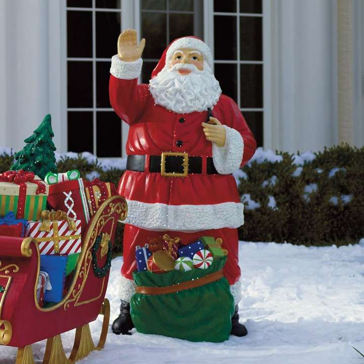 Outside Christmas Decorations Ideas Pictures: Fiber-optic Santa With Bag Of Toys