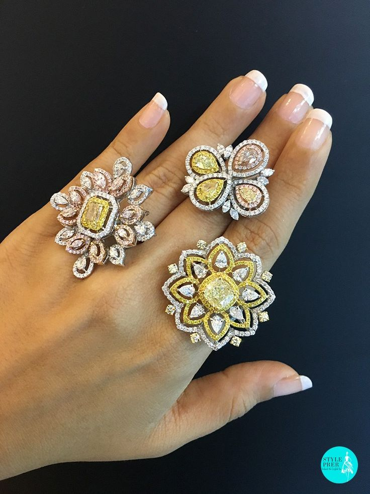 Colored #Diamonds and #fancy Shaped #diamond Cocktail Rings from #AnantThai #StylePrer