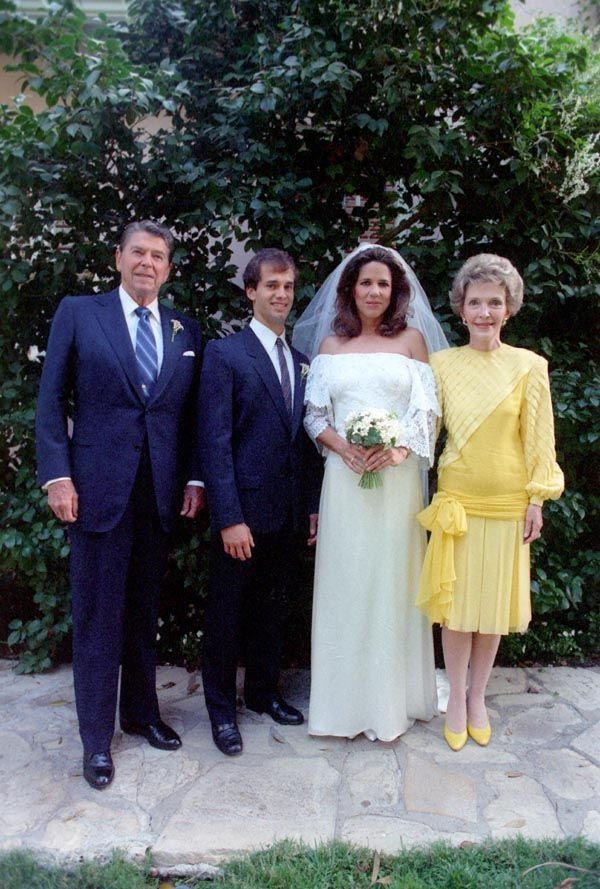 President Reagan and First Lady Nancy Reagan with newly wedded daughter Patti and her new husband