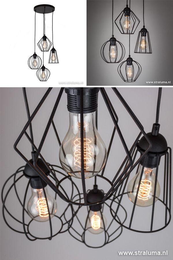 Wat Een Leuke Draadhanglamp Helemaal Volgens De Laatste Trends Leuk De Verschillende Kapjes En Verschillende Hoogtes Hie Keuken Lichten Verlichting Hanglamp