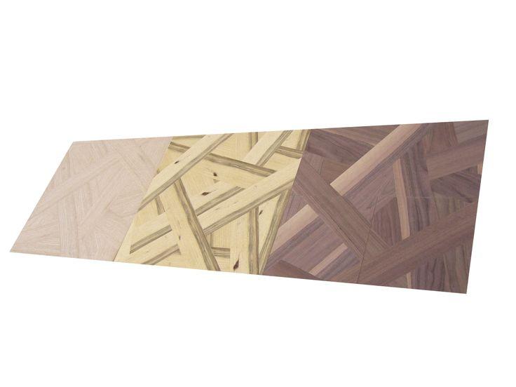 Paneles de madera rechapados mediante la fusión de distintas chapas. Colección Join, modelos Mix