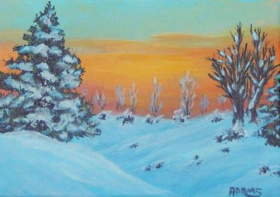Winter Snow Sunrise 5x7 Painting Pines Blue White by PatAdamsArt, $49.00. Available paintings can be seen in my Etsy Store at: https://www.etsy.com/shop/PatAdamsArt