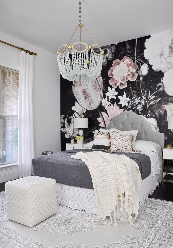 Fabulous bedroom remodel with floor to ceiling wallpaper mural behind bed