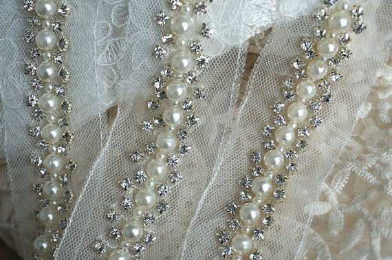 rhinestone trim , beaded lace trim, pearl lace trim for wedding sash, bridal belt, wedding decor, bridal hair