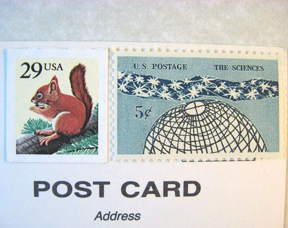 Postcard Postage Stamps Nature Science Squirrel  Globe Stars