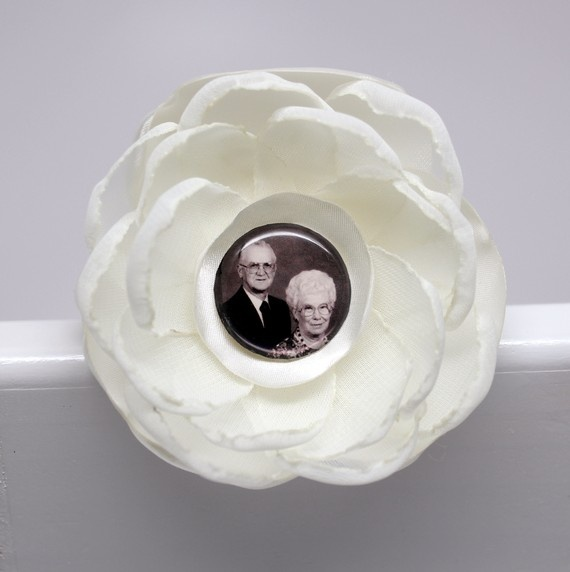 Personalized photograph flower brooch Mother's Day by MakeBelieveN, $35.00