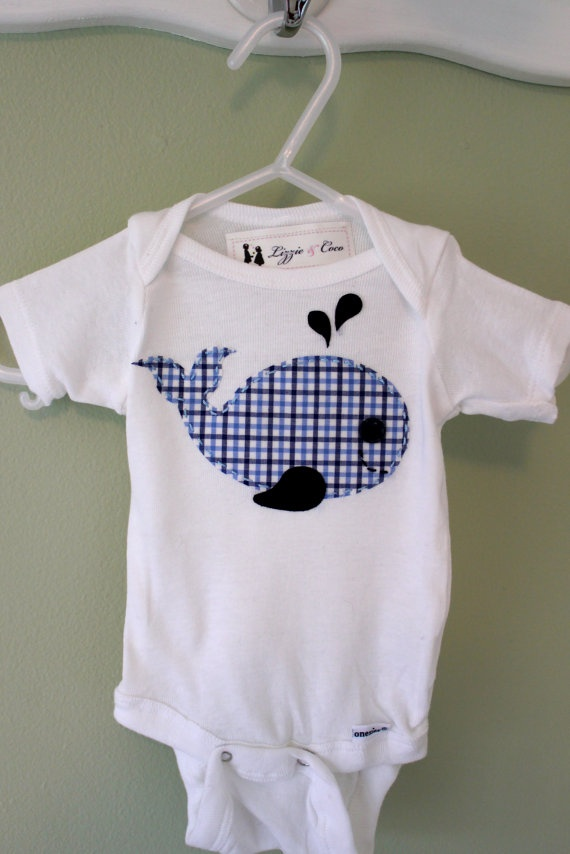 Whale Applique Baby Onesie