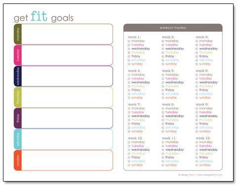 Get Fit Objetivos: livre exercício e aptidão para impressão Planner