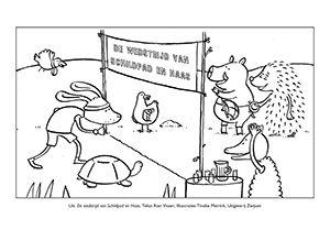 3 kleurplaten bij het prentenboek De wedstrijd van Schildpad en Haas van Rianne Visser (eind augustus verkrijgbaar)