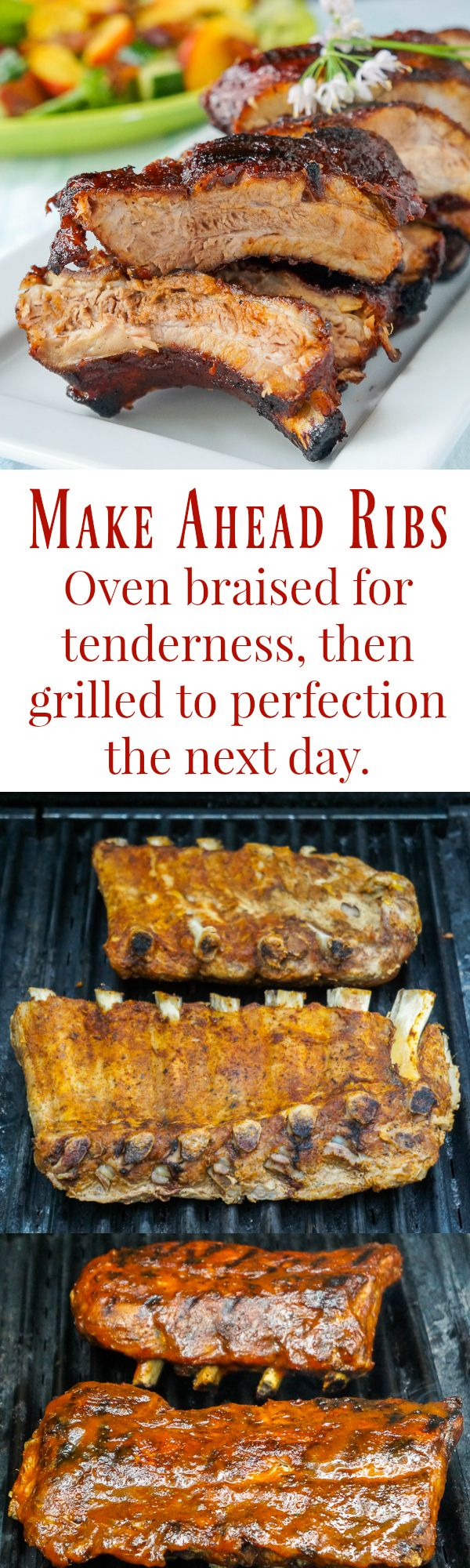 Make Ahead Ribs - braised then grilled! Learn how to slow braise the St. Louis…