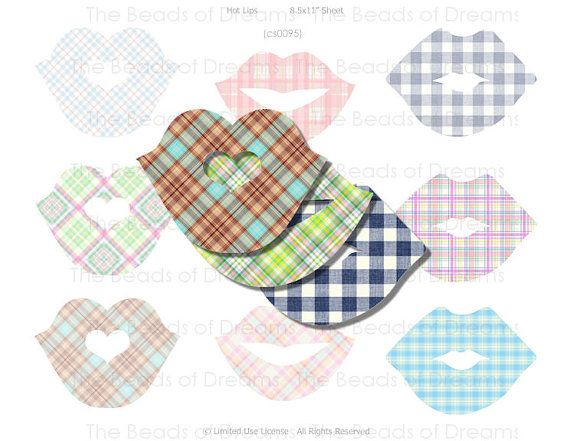 9 large lips plaid  Digital collage sheet  by Digitalbeadsofdreams, $1.45