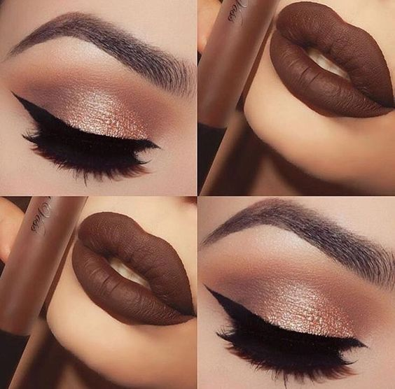 Brown lipstick and brown shimmer and gold eyeshadow makeup: