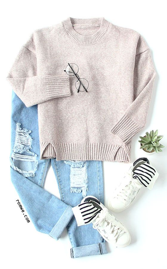Autumn Fashion - Pink Round Neck Split Knitwear with blue denim and white sneakers